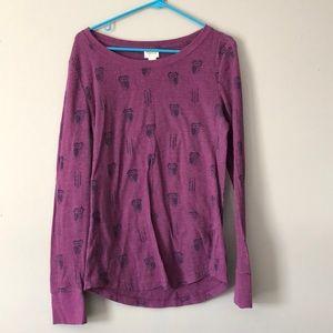 Long Sleeved Owl Style Women's Large Shirt